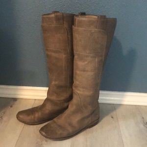 Frye Taupe distressed real Leather boots